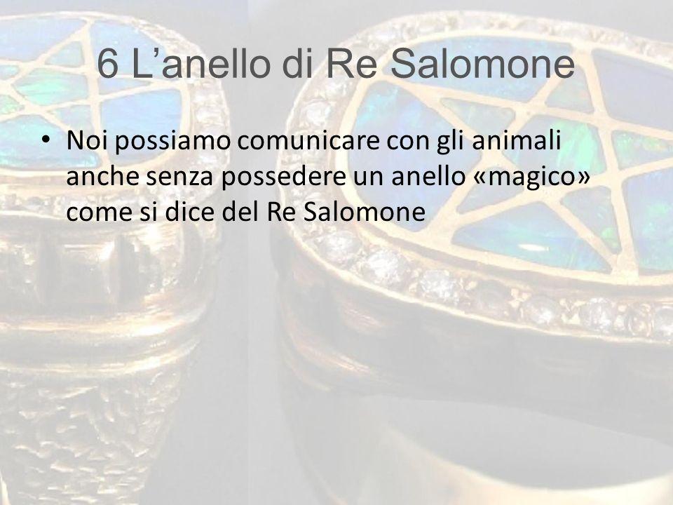 6 L'anello di Re Salomone Noi possiamo comunicare con gli animali anche senza possedere un anello «magico» come si dice del Re Salomone