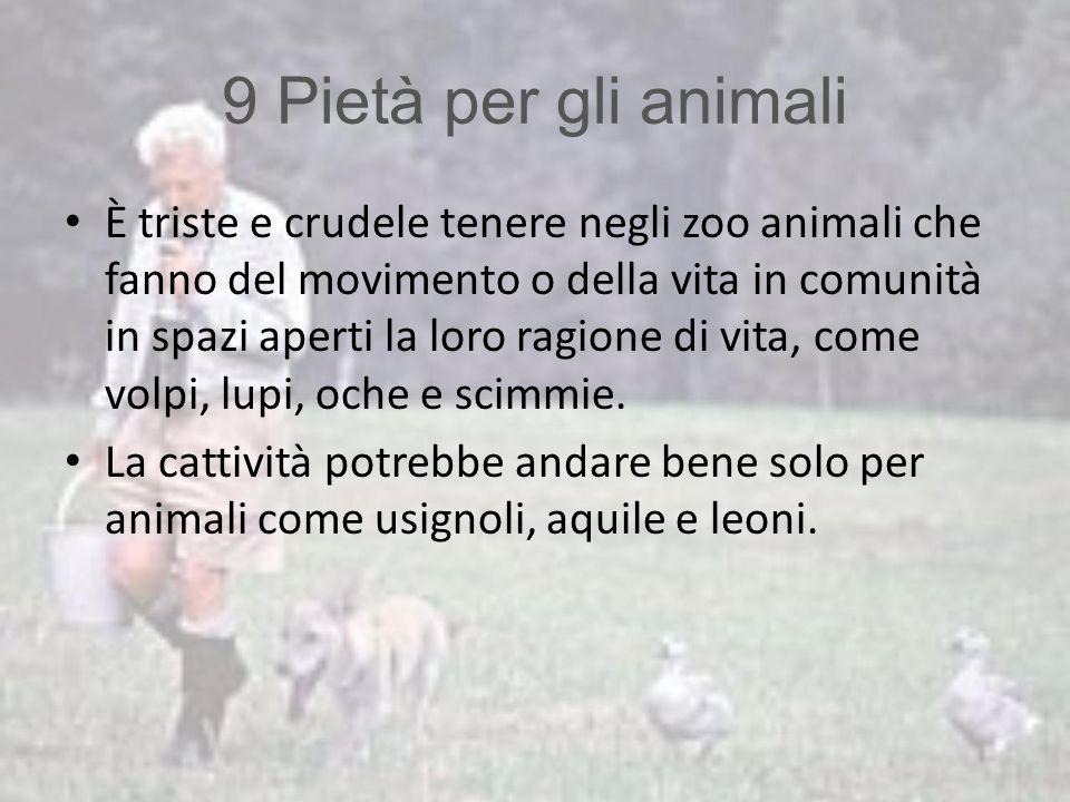 9 Pietà per gli animali È triste e crudele tenere negli zoo animali che fanno del movimento o della vita in comunità in spazi aperti la loro ragione d