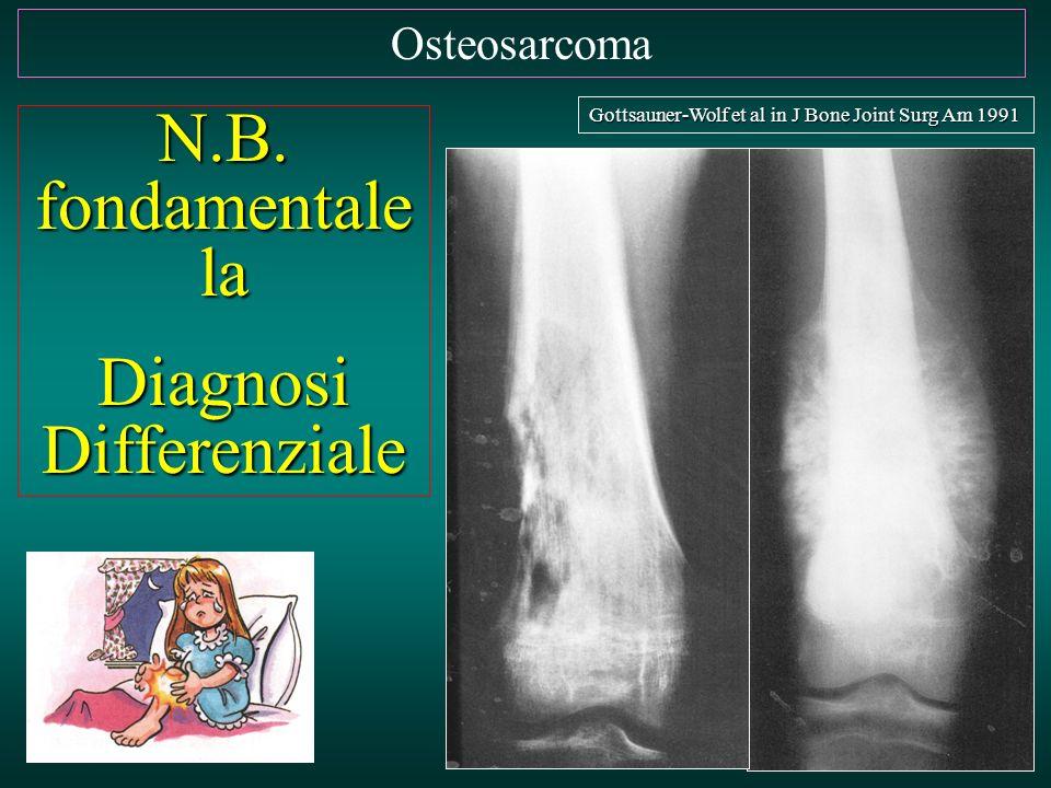 Osteosarcoma N.B. fondamentale la Diagnosi Differenziale Gottsauner-Wolf et al in J Bone Joint Surg Am 1991