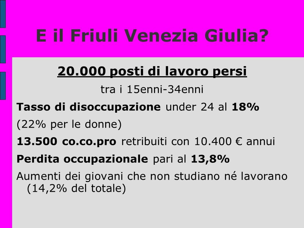 E il Friuli Venezia Giulia? 20.000 posti di lavoro persi tra i 15enni-34enni Tasso di disoccupazione under 24 al 18% (22% per le donne) 13.500 co.co.p
