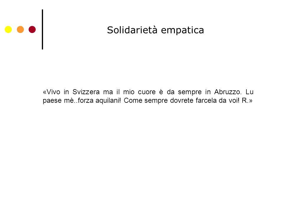 Solidarietà empatica «Vivo in Svizzera ma il mio cuore è da sempre in Abruzzo.