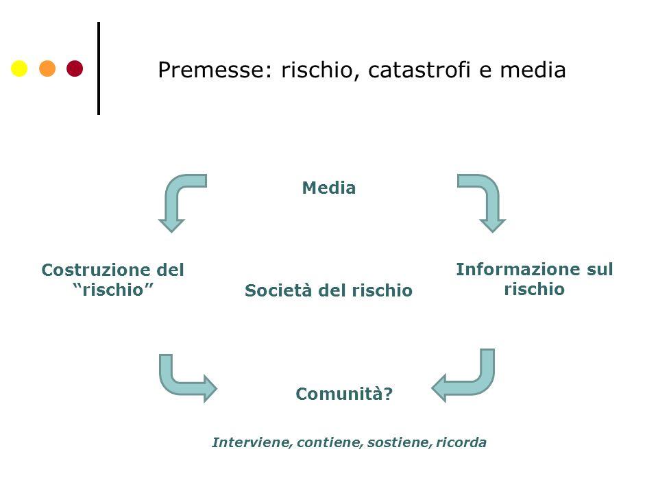 Premesse: rischio, catastrofi e media Società del rischio Informazione sul rischio Costruzione del rischio Media Comunità.