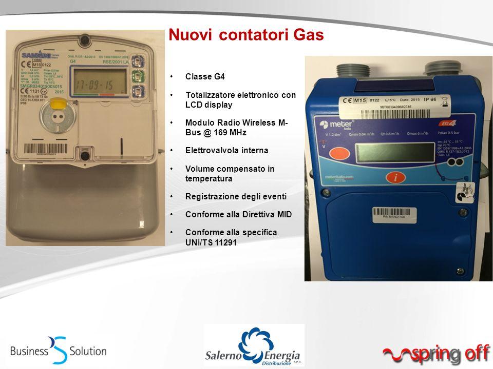 Nuovi contatori Gas Classe G4 Totalizzatore elettronico con LCD display Modulo Radio Wireless M- Bus @ 169 MHz Elettrovalvola interna Volume compensat