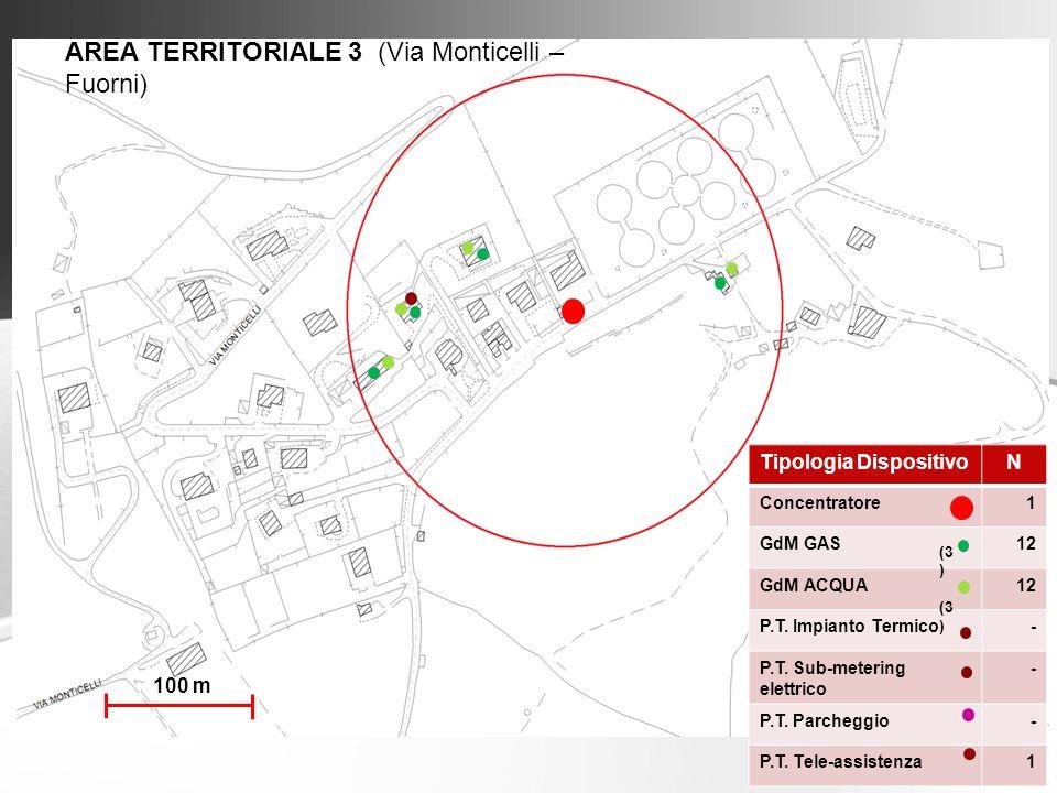 AREA TERRITORIALE 3 (Via Monticelli – Fuorni) Tipologia DispositivoN Concentratore1 GdM GAS12 GdM ACQUA12 P.T. Impianto Termico- P.T. Sub-metering ele