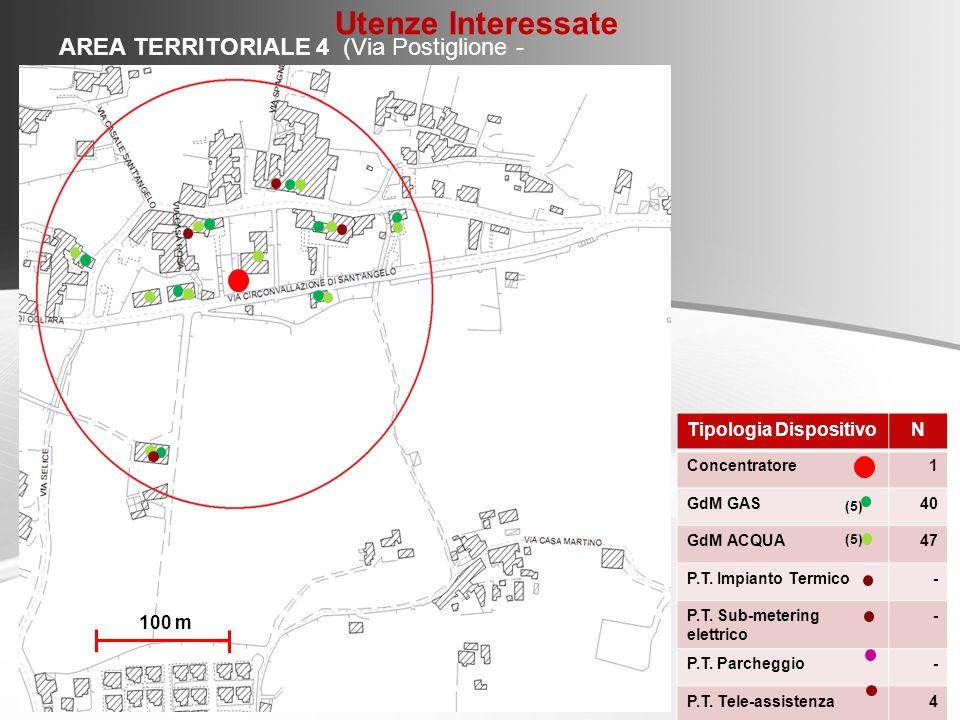AREA TERRITORIALE 4 (Via Postiglione - Ogliara) Tipologia DispositivoN Concentratore1 GdM GAS40 GdM ACQUA47 P.T. Impianto Termico- P.T. Sub-metering e