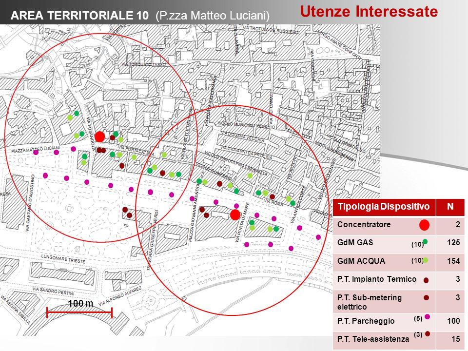 AREA TERRITORIALE 10 (P.zza Matteo Luciani) Tipologia DispositivoN Concentratore2 GdM GAS125 GdM ACQUA154 P.T. Impianto Termico3 P.T. Sub-metering ele