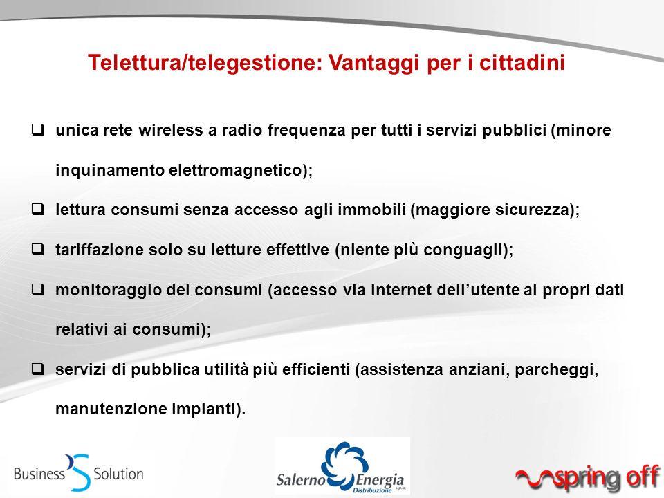 Telettura/telegestione: Vantaggi per i cittadini  unica rete wireless a radio frequenza per tutti i servizi pubblici (minore inquinamento elettromagn