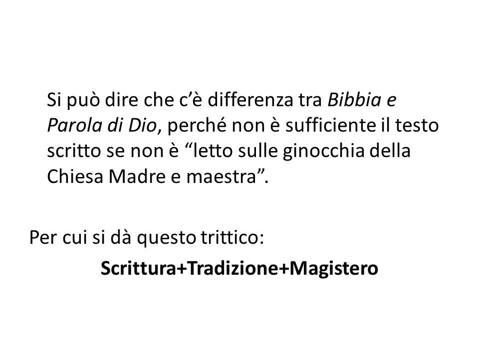 """Si può dire che c'è differenza tra Bibbia e Parola di Dio, perché non è sufficiente il testo scritto se non è """"letto sulle ginocchia della Chiesa Madr"""