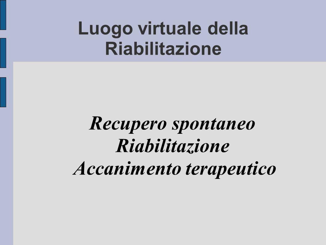Luogo virtuale della Riabilitazione Recupero spontaneo Riabilitazione Accanimento terapeutico