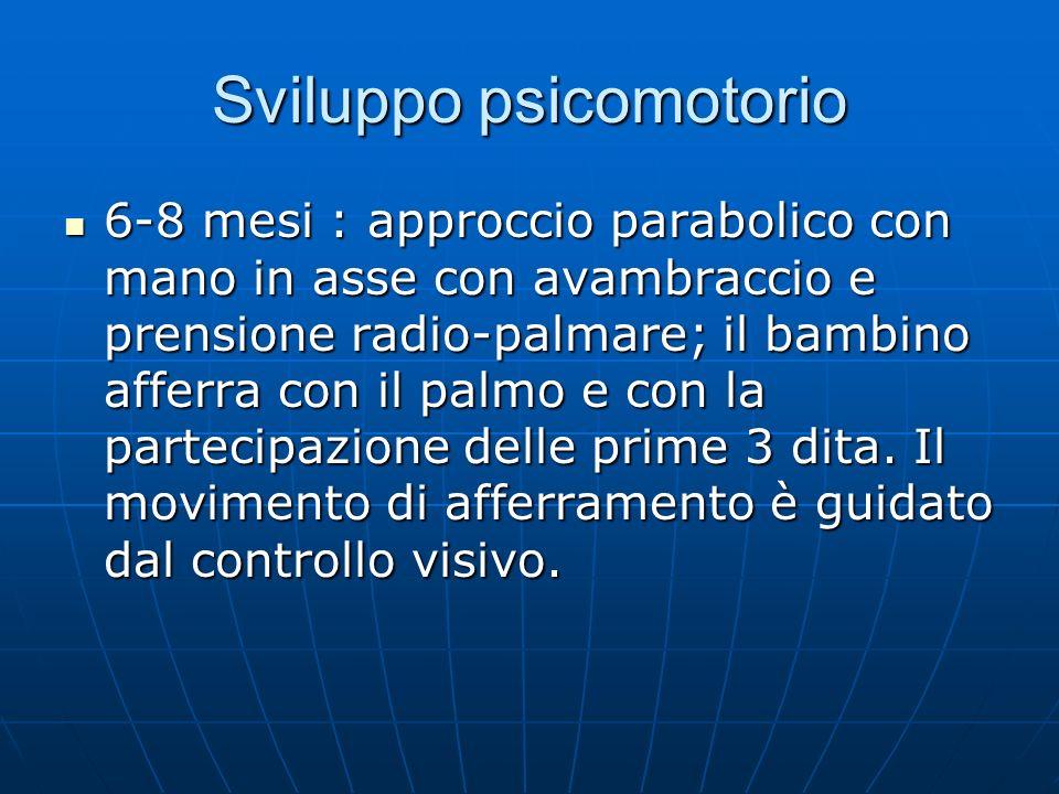 Sviluppo psicomotorio 6-8 mesi : approccio parabolico con mano in asse con avambraccio e prensione radio-palmare; il bambino afferra con il palmo e con la partecipazione delle prime 3 dita.