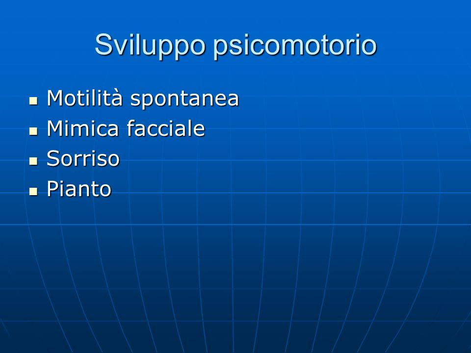 Sviluppo psicomotorio Motilità spontanea Motilità spontanea Mimica facciale Mimica facciale Sorriso Sorriso Pianto Pianto