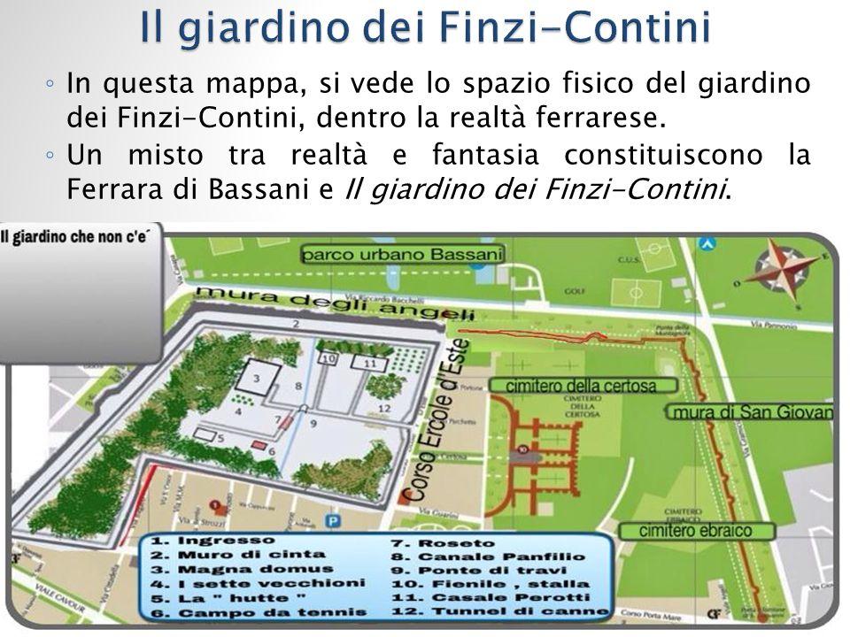 ◦ In questa mappa, si vede lo spazio fisico del giardino dei Finzi-Contini, dentro la realtà ferrarese.