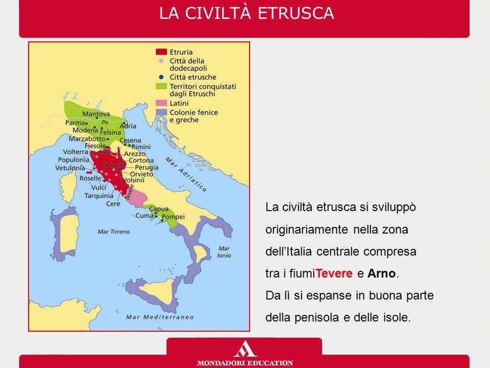 La civiltà etrusca si sviluppò originariamente nella zona dell'Italia centrale compresa tra i fiumiTevere e Arno. Da lì si espanse in buona parte dell