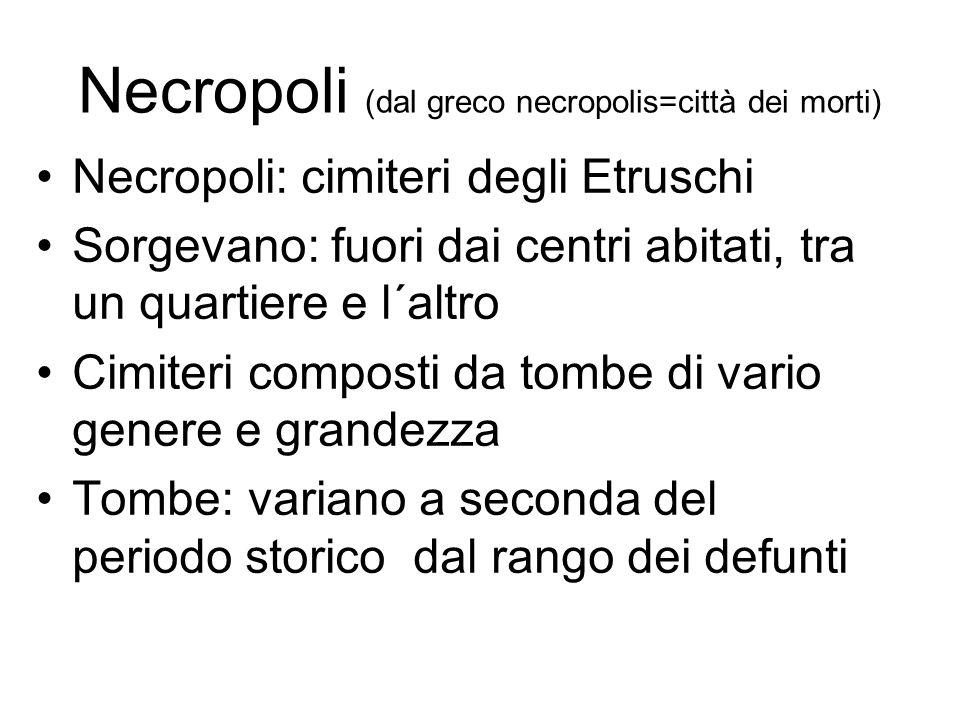 Necropoli (dal greco necropolis=città dei morti) Necropoli: cimiteri degli Etruschi Sorgevano: fuori dai centri abitati, tra un quartiere e l´altro Ci
