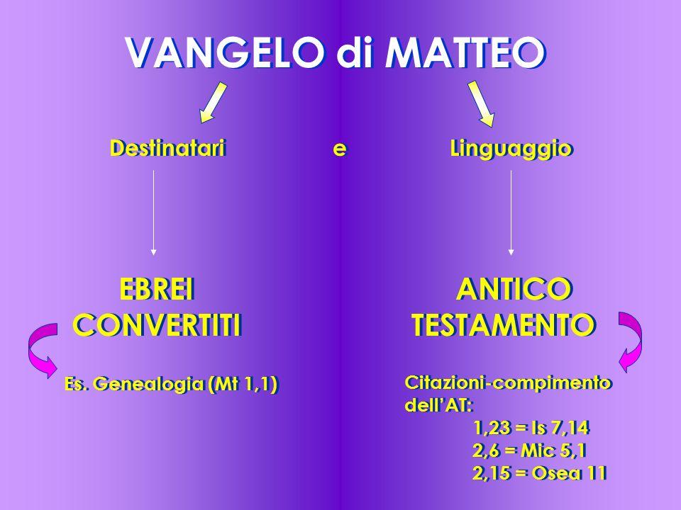 VANGELO di MATTEO Destinatari eLinguaggio EBREI CONVERTITI ANTICO TESTAMENTO Es. Genealogia (Mt 1,1) Citazioni-compimento dell'AT: 1,23 = Is 7,14 2,6