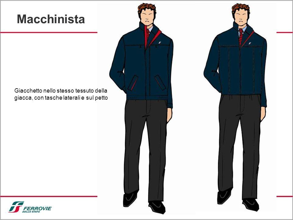 9 Macchinista Giacchetto nello stesso tessuto della giacca, con tasche laterali e sul petto