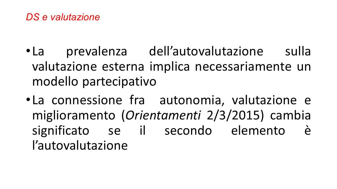 DS e valutazione La prevalenza dell'autovalutazione sulla valutazione esterna implica necessariamente un modello partecipativo La connessione fra autonomia, valutazione e miglioramento (Orientamenti 2/3/2015) cambia significato se il secondo elemento è l'autovalutazione