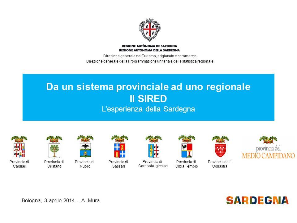 Bologna, 3 aprile 2014 – A. Mura Da un sistema provinciale ad uno regionale Il SIRED L'esperienza della Sardegna Provincia di Nuoro Provincia di Orist