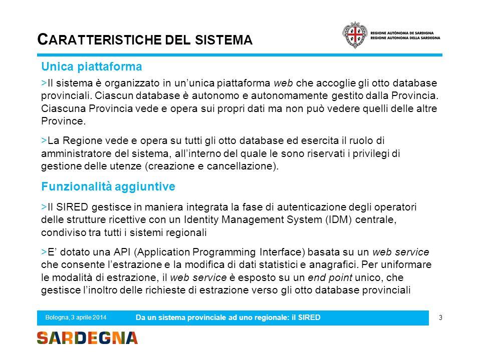 C ARATTERISTICHE DEL SISTEMA Unica piattaforma >Il sistema è organizzato in un'unica piattaforma web che accoglie gli otto database provinciali. Ciasc