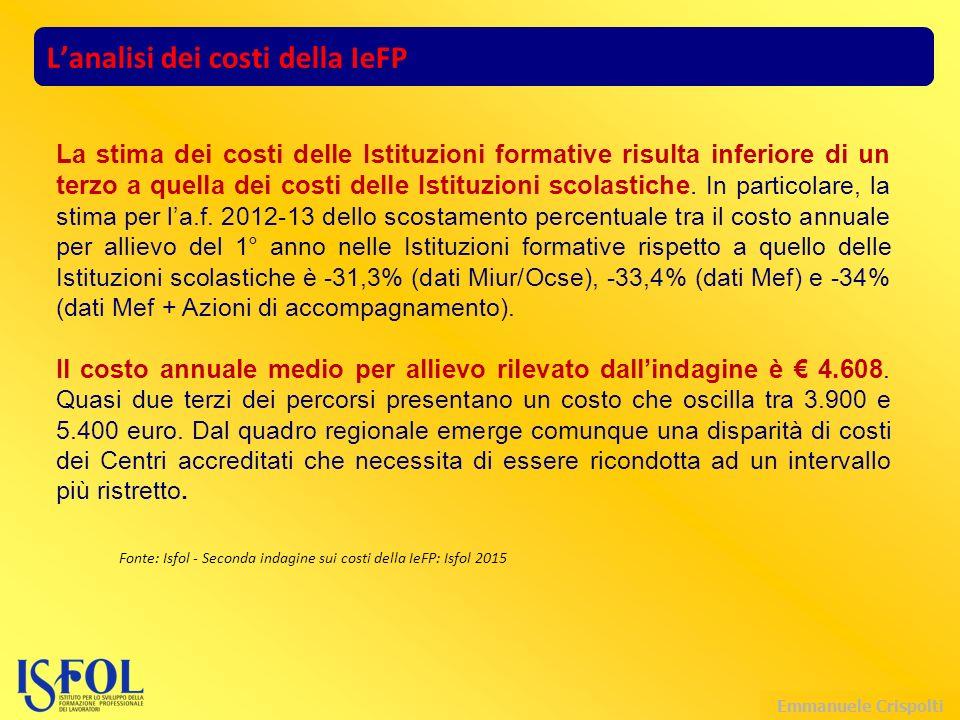 Emmanuele Crispolti L'analisi dei costi della IeFP La stima dei costi delle Istituzioni formative risulta inferiore di un terzo a quella dei costi delle Istituzioni scolastiche.