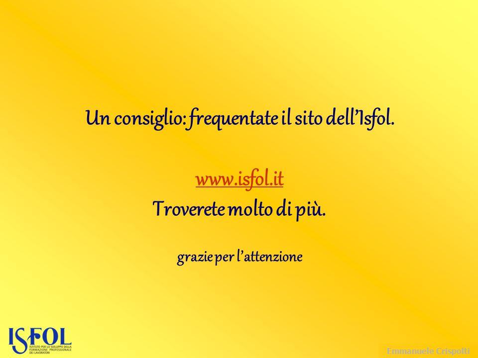 Emmanuele Crispolti Un consiglio: frequentate il sito dell'Isfol.