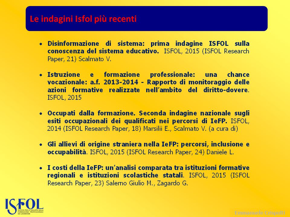 Emmanuele Crispolti Le indagini Isfol più recenti