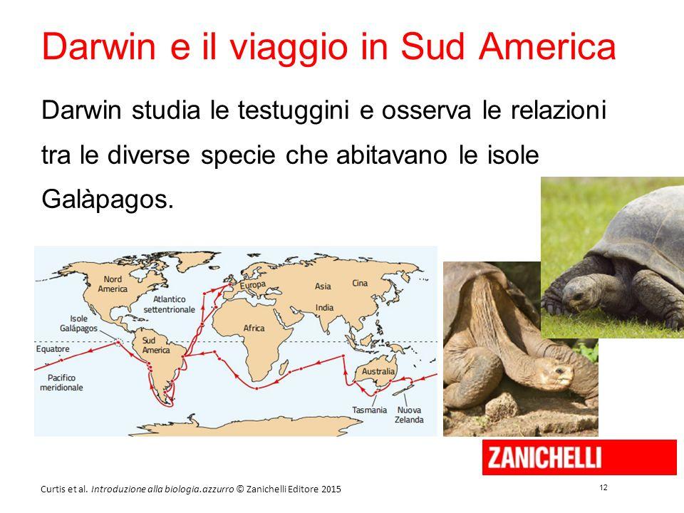 12 Curtis et al. Introduzione alla biologia.azzurro © Zanichelli Editore 2015 Darwin e il viaggio in Sud America Darwin studia le testuggini e osserva