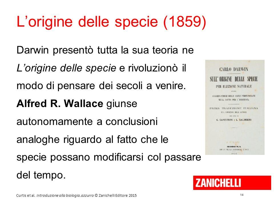 14 Curtis et al. Introduzione alla biologia.azzurro © Zanichelli Editore 2015 L'origine delle specie (1859) Darwin presentò tutta la sua teoria ne L'o