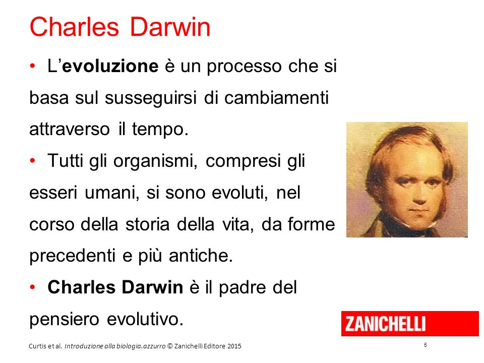 5 5 Curtis et al. Introduzione alla biologia.azzurro © Zanichelli Editore 2015 Charles Darwin L'evoluzione è un processo che si basa sul susseguirsi d