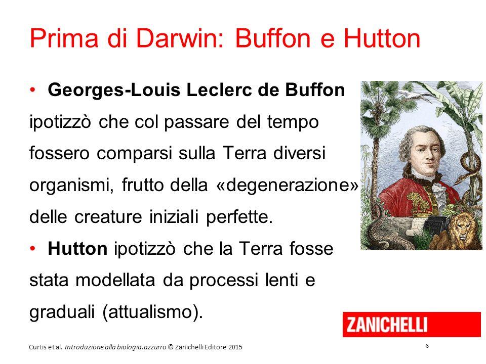 6 6 Curtis et al. Introduzione alla biologia.azzurro © Zanichelli Editore 2015 Prima di Darwin: Buffon e Hutton Georges-Louis Leclerc de Buffon ipotiz