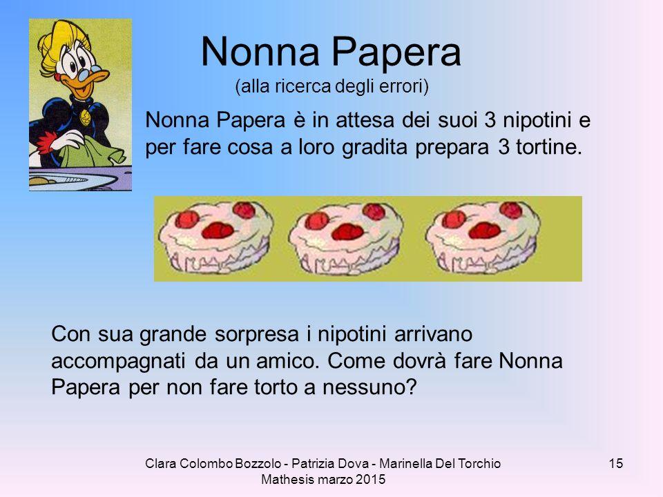 Clara Colombo Bozzolo - Patrizia Dova - Marinella Del Torchio Mathesis marzo 2015 Nonna Papera (alla ricerca degli errori) Nonna Papera è in attesa de