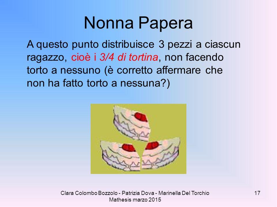 Clara Colombo Bozzolo - Patrizia Dova - Marinella Del Torchio Mathesis marzo 2015 Nonna Papera A questo punto distribuisce 3 pezzi a ciascun ragazzo,