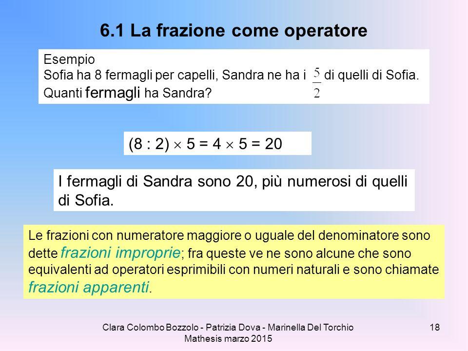 Clara Colombo Bozzolo - Patrizia Dova - Marinella Del Torchio Mathesis marzo 2015 6.1 La frazione come operatore Esempio Sofia ha 8 fermagli per capel
