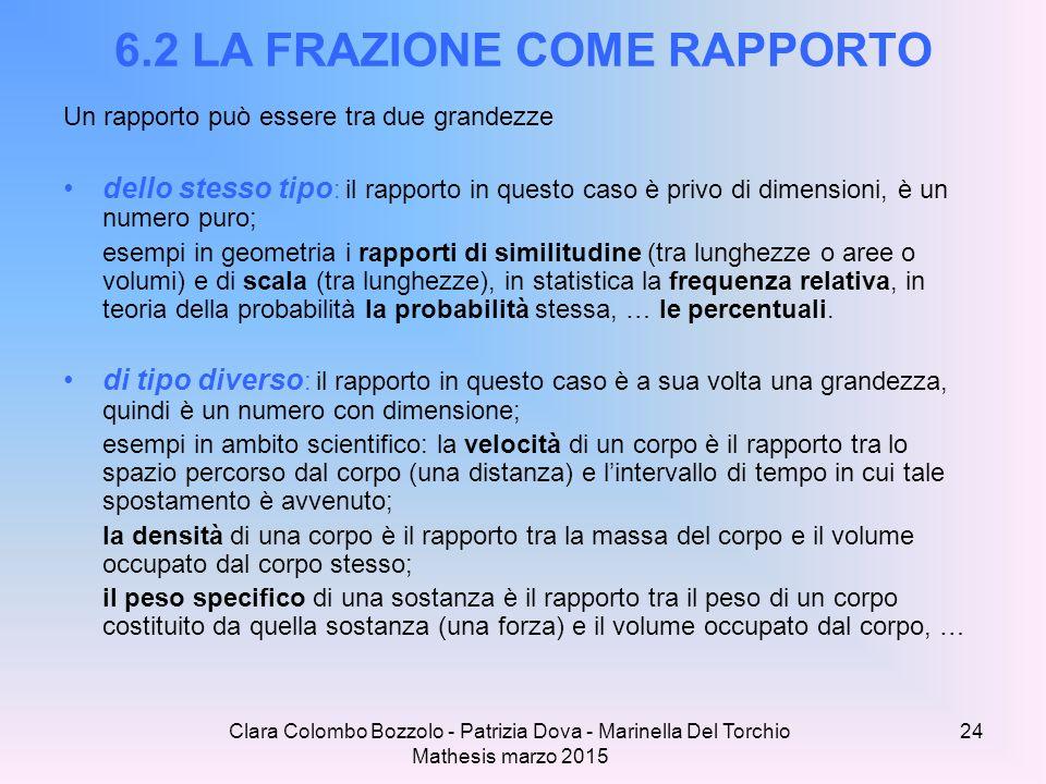 Clara Colombo Bozzolo - Patrizia Dova - Marinella Del Torchio Mathesis marzo 2015 6.2 LA FRAZIONE COME RAPPORTO Un rapporto può essere tra due grandez