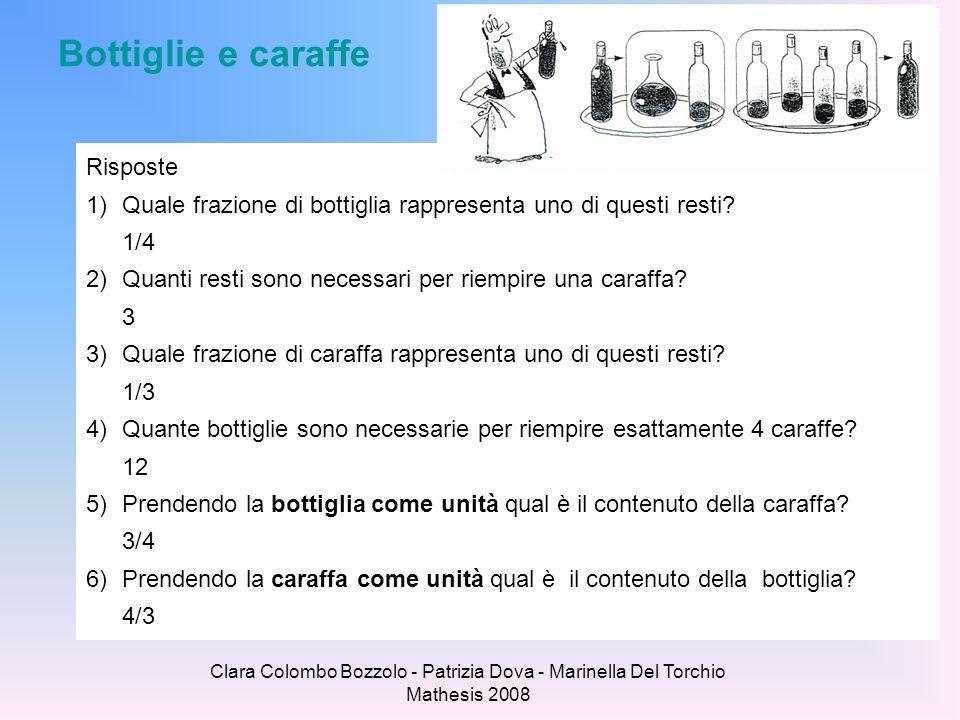 Clara Colombo Bozzolo - Patrizia Dova - Marinella Del Torchio Mathesis 2008 Bottiglie e caraffe Risposte 1)Quale frazione di bottiglia rappresenta uno