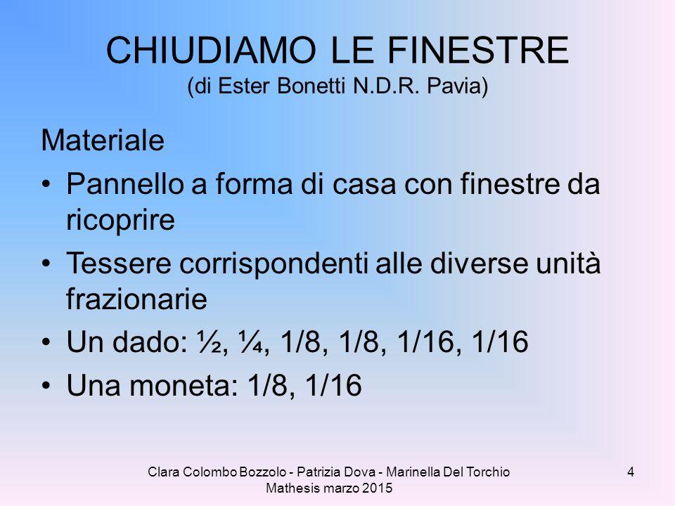 Clara Colombo Bozzolo - Patrizia Dova - Marinella Del Torchio Mathesis marzo 2015 CHIUDIAMO LE FINESTRE (di Ester Bonetti N.D.R. Pavia) Materiale Pann