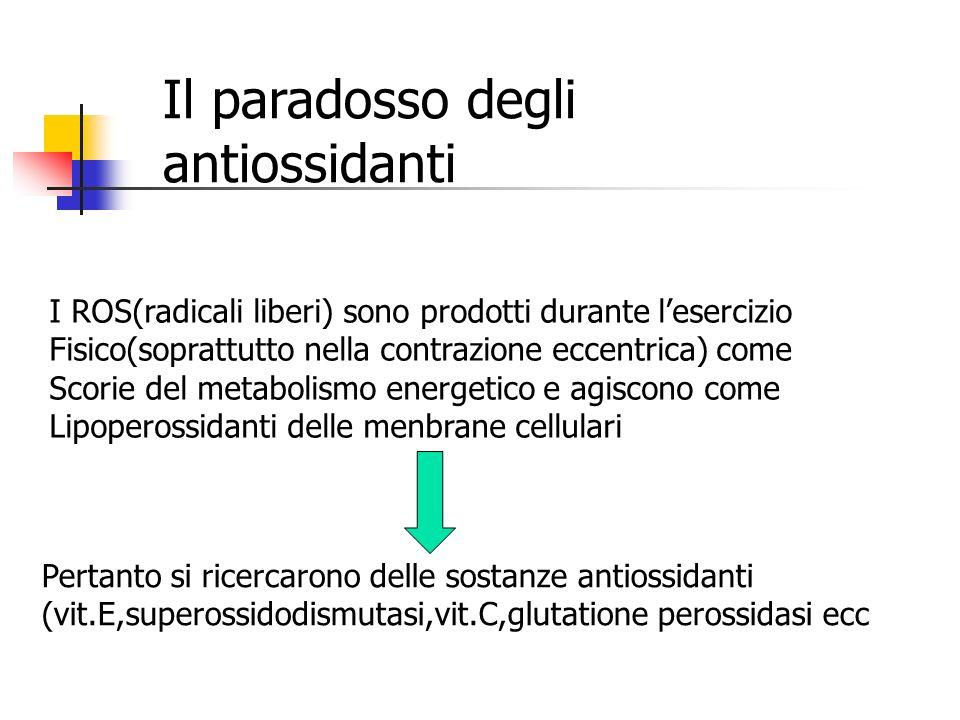 Il paradosso degli antiossidanti I ROS(radicali liberi) sono prodotti durante l'esercizio Fisico(soprattutto nella contrazione eccentrica) come Scorie