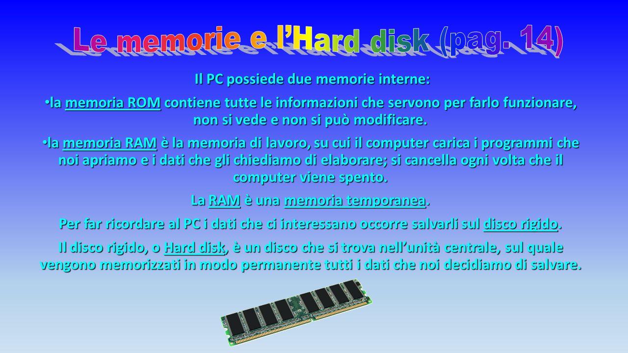 Il PC possiede due memorie interne: la memoria ROM contiene tutte le informazioni che servono per farlo funzionare, non si vede e non si può modificare.