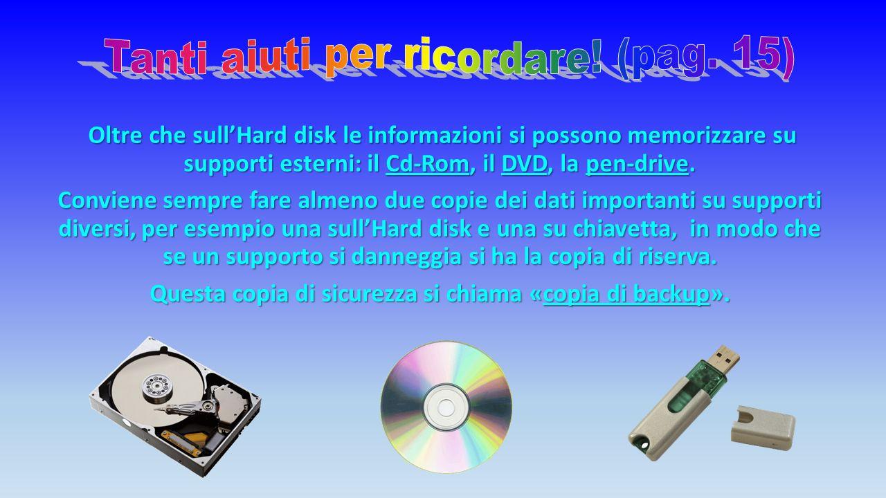 Oltre che sull'Hard disk le informazioni si possono memorizzare su supporti esterni: il Cd-Rom, il DVD, la pen-drive.