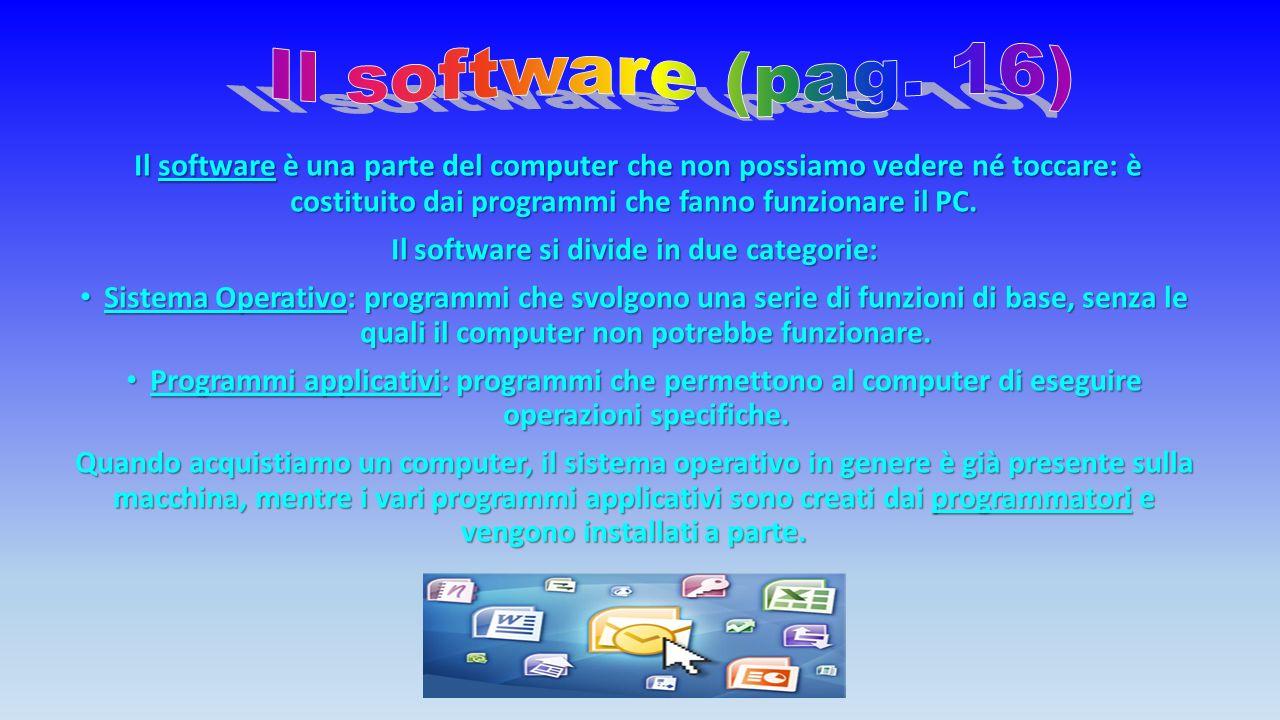 Il software è una parte del computer che non possiamo vedere né toccare: è costituito dai programmi che fanno funzionare il PC.