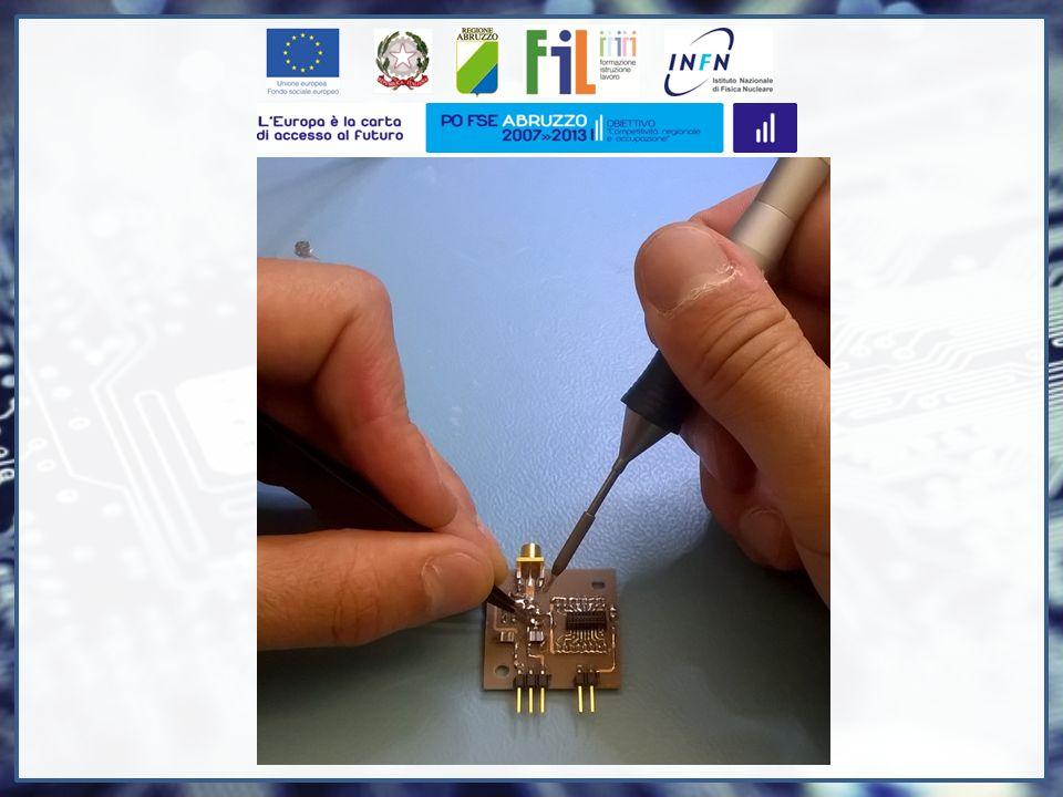 In questo caso, l' elettronica di front end mostrata in precedenza, viene utilizzata per ricevere i segnali di un sensore di luce chiamato SiPM.