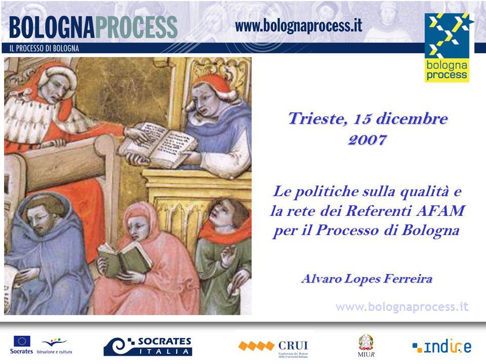 Trieste, 15 dicembre 2007 Le politiche sulla qualità e la rete dei Referenti AFAM per il Processo di Bologna Alvaro Lopes Ferreira www.bolognaprocess.i t