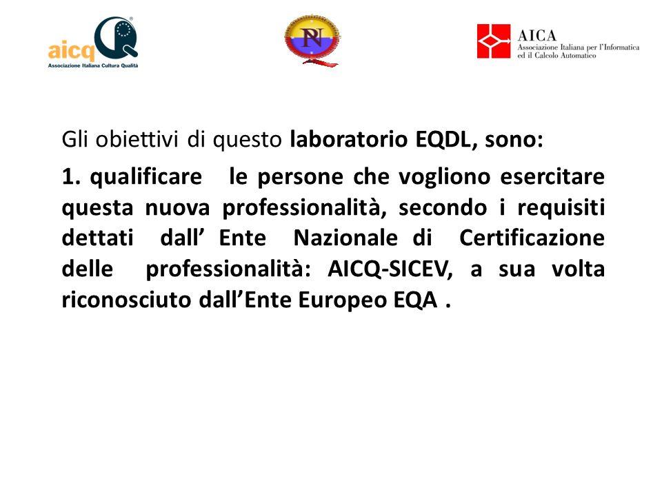 Gli obiettivi di questo laboratorio EQDL, sono: 1. qualificare le persone che vogliono esercitare questa nuova professionalità, secondo i requisiti de