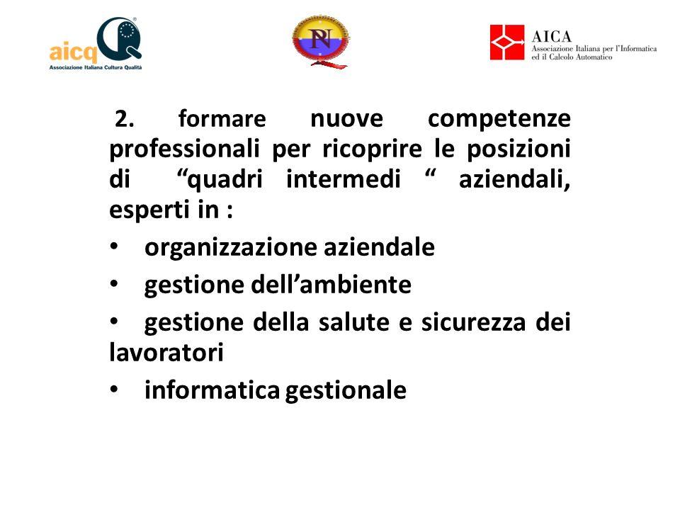 """2. formare nuove competenze professionali per ricoprire le posizioni di """"quadri intermedi """" aziendali, esperti in : organizzazione aziendale gestione"""
