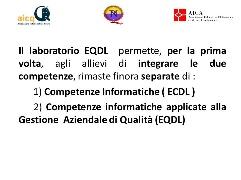 Il laboratorio EQDL permette, per la prima volta, agli allievi di integrare le due competenze, rimaste finora separate di : 1) Competenze Informatiche ( ECDL ) 2) Competenze informatiche applicate alla Gestione Aziendale di Qualità (EQDL)