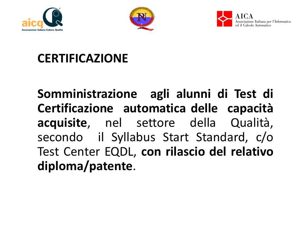 CERTIFICAZIONE Somministrazione agli alunni di Test di Certificazione automatica delle capacità acquisite, nel settore della Qualità, secondo il Syllabus Start Standard, c/o Test Center EQDL, con rilascio del relativo diploma/patente.