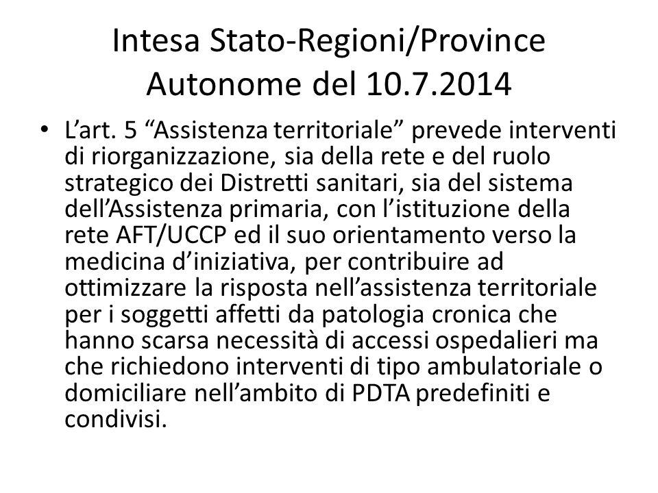 """Intesa Stato-Regioni/Province Autonome del 10.7.2014 L'art. 5 """"Assistenza territoriale"""" prevede interventi di riorganizzazione, sia della rete e del r"""