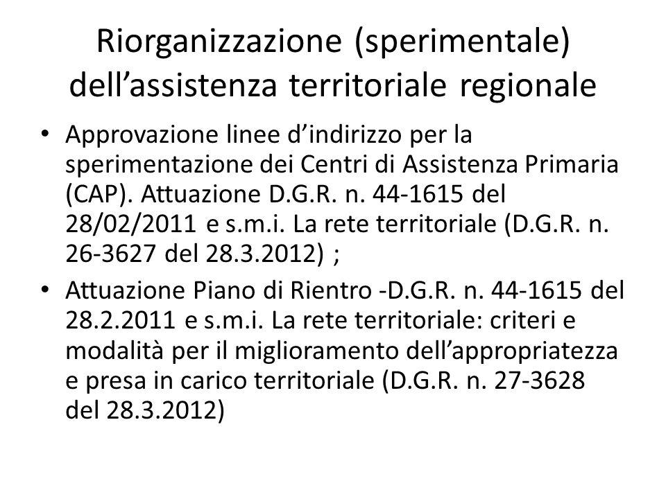Riorganizzazione (sperimentale) dell'assistenza territoriale regionale Approvazione linee d'indirizzo per la sperimentazione dei Centri di Assistenza