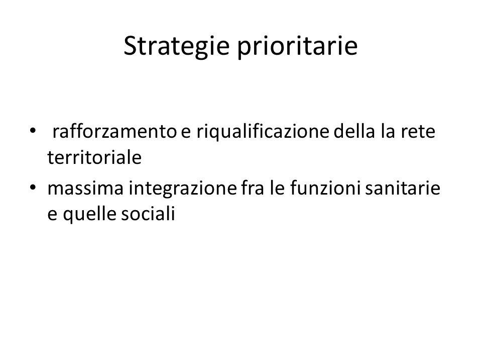 Strategie prioritarie rafforzamento e riqualificazione della la rete territoriale massima integrazione fra le funzioni sanitarie e quelle sociali