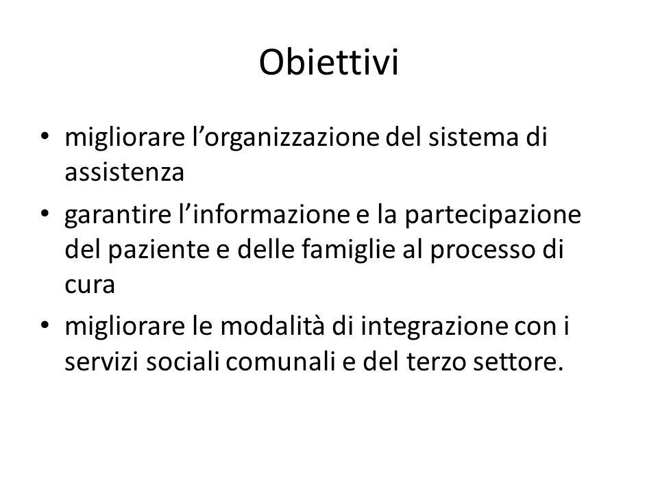 Obiettivi migliorare l'organizzazione del sistema di assistenza garantire l'informazione e la partecipazione del paziente e delle famiglie al processo